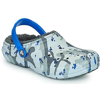 Topánky Chlapci Nazuvky Crocs CLASSIC LINED CAMO CG K Šedá / Modrá