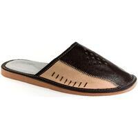 Topánky Muži Papuče John-C Pánske hnedé kožené papuče ADAM hnedá