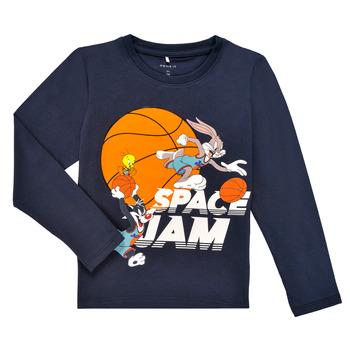 Oblečenie Chlapci Tričká s dlhým rukávom Name it NMMSPACEJAM ARNE LS TOP Námornícka modrá
