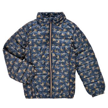 Oblečenie Dievčatá Vyteplené bundy Name it NKFMENE FLOWER JACKET Námornícka modrá