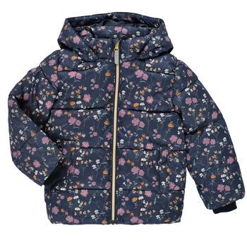 Oblečenie Dievčatá Vyteplené bundy Name it NMFMAY PUFFER JACKET Námornícka modrá / Viacfarebná