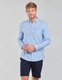 Oblečenie Muži Košele s dlhým rukávom Tommy Jeans TJM LINEN BLEND SHIRT Modrá