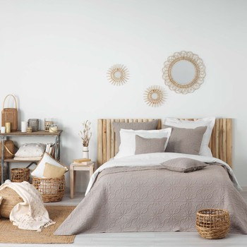 Domov Prehozy na posteľ Douceur d intérieur FLORETTE Hnedošedá