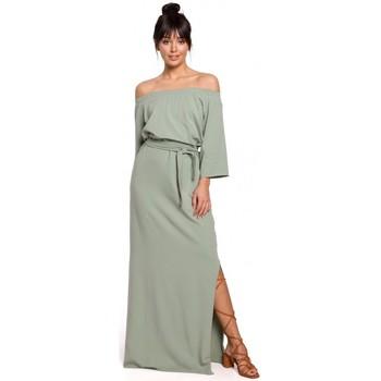 Oblečenie Ženy Dlhé šaty Be B146 Maxi šaty bez ramien - pistáciové