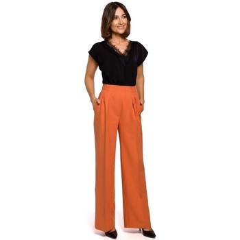 Oblečenie Ženy Blúzky Style S208 Košeľové šaty bez rukávov - oranžové