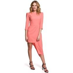 Oblečenie Ženy Krátke šaty Makover K047 Asymetrické plášťové šaty - oranžové