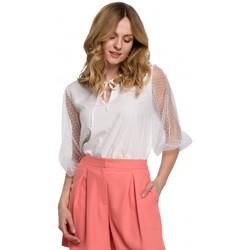 Oblečenie Ženy Blúzky Makover K057 Blúzka s kvietkovanými bodkami - biela