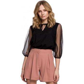 Oblečenie Ženy Blúzky Makover K057 Blúzka s károvanými bodkami - čierna