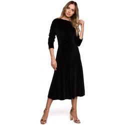 Oblečenie Ženy Dlhé šaty Moe M557 Zamatové midi šaty s naberanými rukávmi - čierne