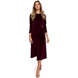 Oblečenie Ženy Dlhé šaty Moe M557 Zamatové midi šaty s naberanými rukávmi - bordové