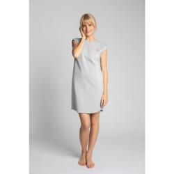 Oblečenie Ženy Krátke šaty Lalupa LA033 Rebrované bavlnené šaty na spanie - svetlosivé