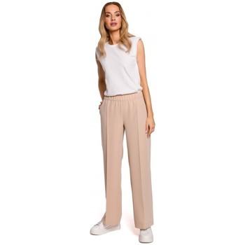 Oblečenie Ženy Padavé nohavice Moe M570 Nohavice s vrúbkovanými nohavicami - béžové