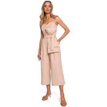 Oblečenie Ženy Módne overaly Moe M571 Kombinéza bez ramienok - béžová