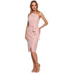 Oblečenie Ženy Dlhé šaty Moe M572 Šaty s jedným ramienkom - púdrové