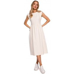 Oblečenie Ženy Dlhé šaty Moe M581 Šaty bez rukávov s vysokým pásom - krémové