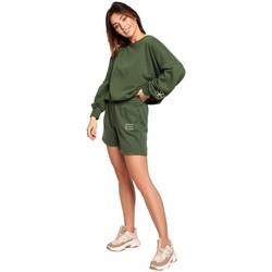 Oblečenie Ženy Šortky a bermudy Be B186 Šortky s výšivkou - trávovo zelené
