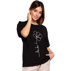 Oblečenie Ženy Blúzky Be B187 Tričko s kvetinovou potlačou - čierne