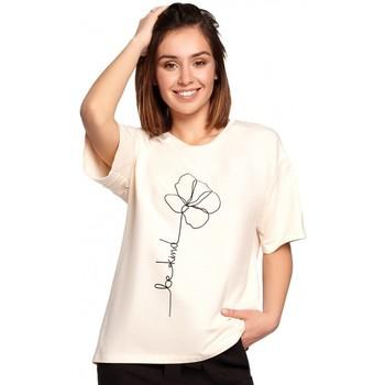 Oblečenie Ženy Blúzky Be B187 Tričko s kvetinovou potlačou - krémové