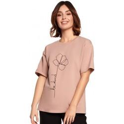 Oblečenie Ženy Blúzky Be B187 Tričko s kvetinovou potlačou - mocca