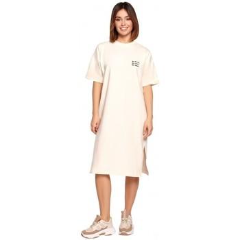 Oblečenie Ženy Krátke šaty Be B194 Tričkové šaty uvoľneného strihu - krémové