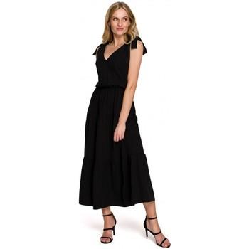 Oblečenie Ženy Dlhé šaty Makover K092 Šaty na zaväzovanie na ramenách - levanduľové