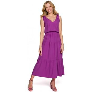 Oblečenie Ženy Dlhé šaty Makover K092 Šaty na zaväzovanie na ramenách - slivka