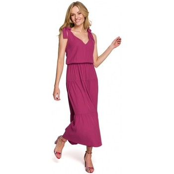Oblečenie Ženy Dlhé šaty Makover K092 Šaty na zaväzovanie na ramenách - nebesky modré