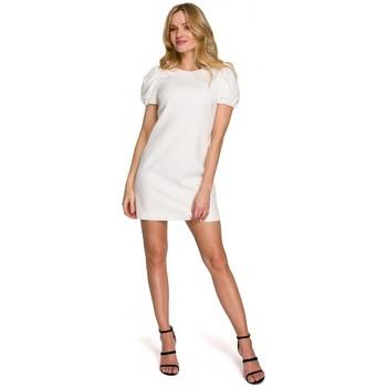 Oblečenie Ženy Krátke šaty Makover K095 Mini šaty s puzdrovými rukávmi - tmavomodré