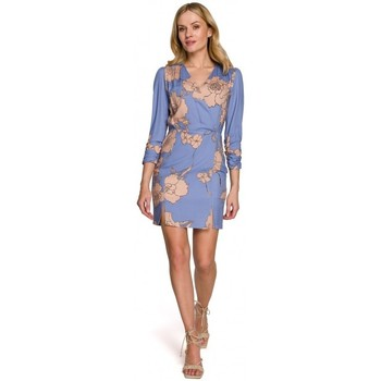 Oblečenie Ženy Krátke šaty Makover K096 Mini šaty so zavinovacím topom - model 2