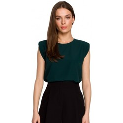 Oblečenie Ženy Blúzky Style S260 Blúzka bez rukávov s vypchávkami na ramenách - zelená