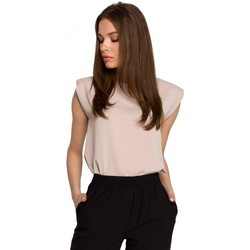 Oblečenie Ženy Blúzky Style S260 Blúzka bez rukávov s vypchávkami na ramenách - béžová