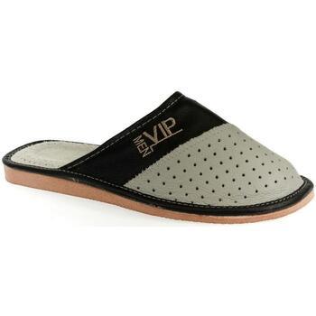 Topánky Muži Papuče John-C Pánske kožené  sivo-čierne papuče VIPMEN sivá