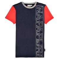 Oblečenie Chlapci Tričká s krátkym rukávom Napapijri SAOBAB Námornícka modrá / Červená