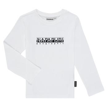 Oblečenie Chlapci Tričká s dlhým rukávom Napapijri S-BOX LS Biela