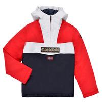 Oblečenie Chlapci Parky Napapijri RAINFOREST POCKET Modrá / Biela / Červená