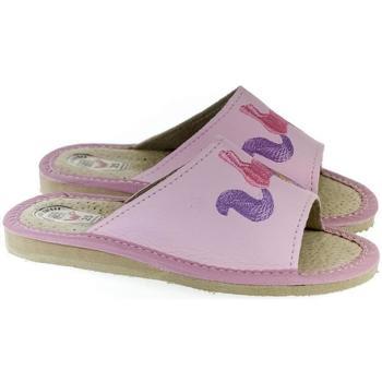 Topánky Dievčatá Papuče Just Mazzoni Detské kožené ružové papuče jednorožec KYARA 25-34 ružová