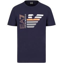 Oblečenie Muži Tričká s krátkym rukávom Ea7 Emporio Armani 3KPT22 PJ6EZ Modrá