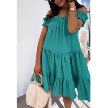 Oblečenie Ženy Krátke šaty Fashion brands R5119-VERT-D-EAU Zelená / Morská modrá
