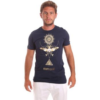 Oblečenie Muži Tričká s krátkym rukávom Roberto Cavalli HST65B Modrá