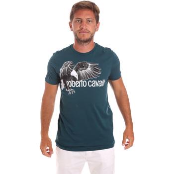 Oblečenie Muži Tričká s krátkym rukávom Roberto Cavalli HST68B Zelená