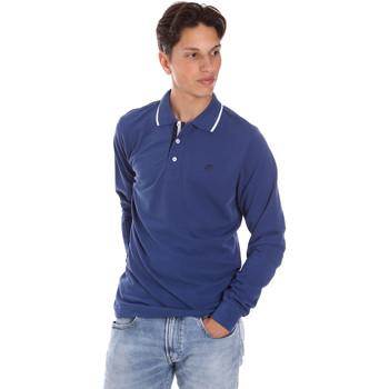 Oblečenie Muži Polokošele s dlhým rukávom Key Up 2L711 0001 Modrá
