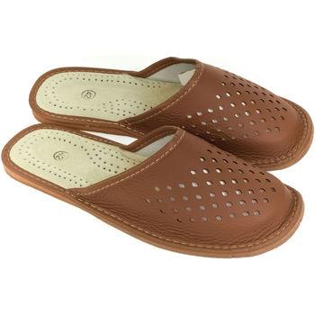 Topánky Muži Papuče John-C Pánske kožené hnedé papuče PJOTR ťavia