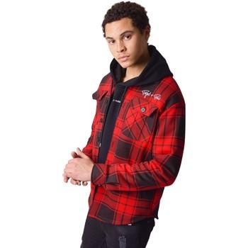 Oblečenie Muži Košele s dlhým rukávom Project X Paris Surchemise à carreaux Projet X Paris Bicolore rouge/noir