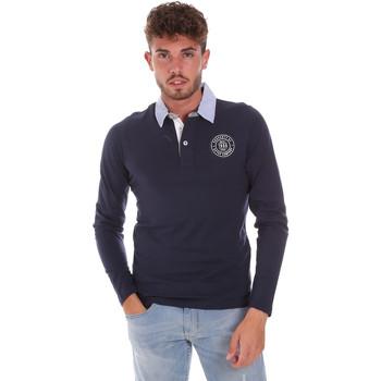 Oblečenie Muži Polokošele s dlhým rukávom Key Up 2G88R 0001 Modrá