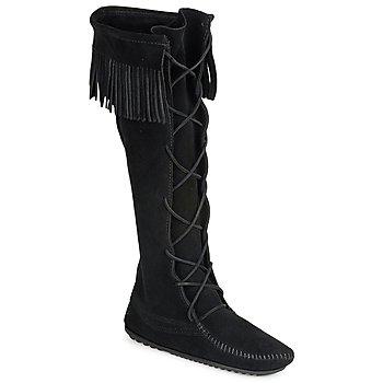 Topánky Ženy Čižmy do mesta Minnetonka FRONT LACE HARDSOLE KNEE HI BOOT Čierna