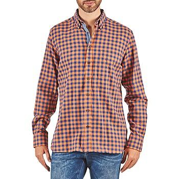Oblečenie Muži Košele s dlhým rukávom Hackett SOFT BRIGHT CHECK Oranžová / Modrá