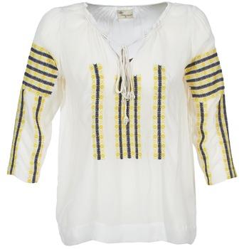 Oblečenie Ženy Blúzky Stella Forest ATU025 Biela / šedá / žltá