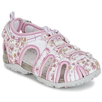 Topánky Dievčatá Športové sandále Geox S.ROXANNE C Biela / Ružová