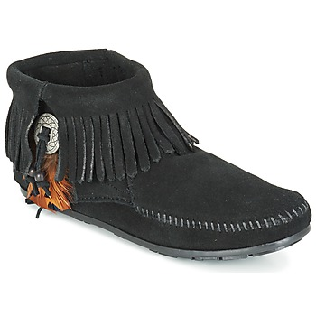 Topánky Ženy Polokozačky Minnetonka CONCHO FEATHER SIDE ZIP BOOT Čierna