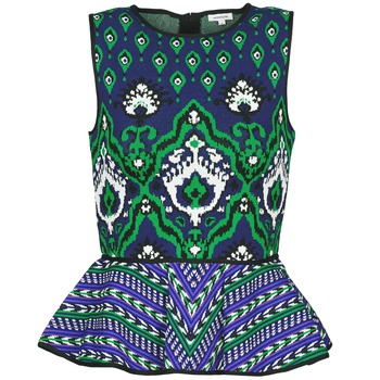 Oblečenie Ženy Tielka a tričká bez rukávov Manoush JACQUARD OOTOMAN Modrá / Čierna / Zelená